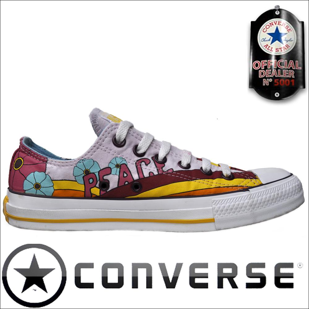 6fc344800e69 Converse All Star Chuck Taylor OX Chucks Multi Color  Love + Peace ...