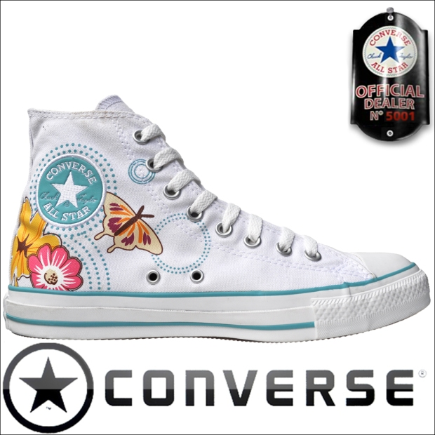 Converse Chucks 1V081 White Butterfly Flowers