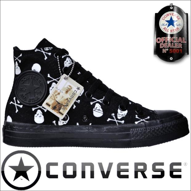 Converse Chucks Hi 1Q092 Skull & Bones Totenkopf Print Limited Edition Schwarz