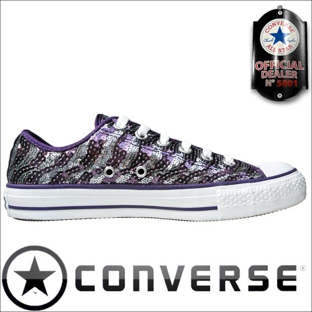 Converse Chucks 522210 Lila / Silber Sequins Pailletten OX - Oxford Schuhe
