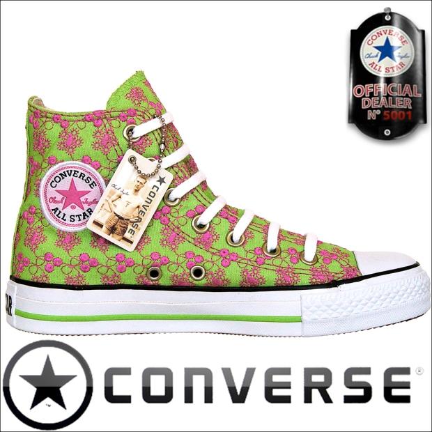 Converse Chuck Taylor All Star Converse Chucks 1U485 Flowers bestickt Grün / Pink
