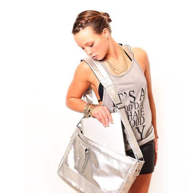 Converse Tasche Shoulder Flap Bag 99301-02 Laptoptasche Silber, Silver, Schultertasche