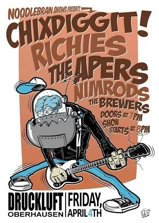 Wir sehen uns am 04.04. im Druckluft, Oberhausen zum Woodstock der Poppunk-Generation mit Chixdiggit!, Richies, Apers, Nimrods und den mighty Brewers!