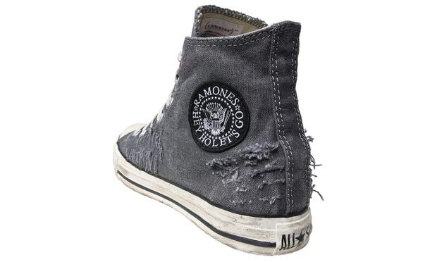 Converse Schuhe All Star Chucks 100733 Schwarz Weiss Hey Ho Ramones Design