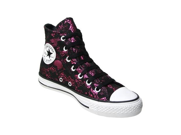 Converse Schuhe All Star Chucks 137840 Boulesque Lila mit schwarzer Spitze - erotisch Heiss