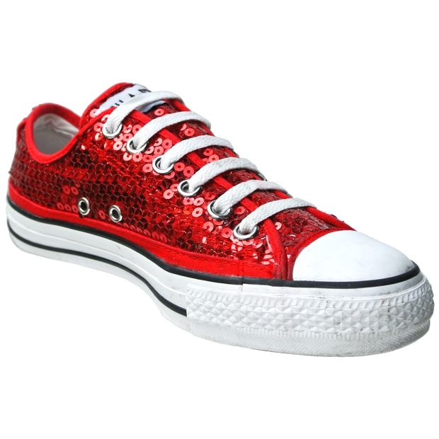 Converse Chuck Taylor Schuhe All Star Chucks 101725 Rot Pailletten Sequins CT AS OX Can unisex Sneakers - Vintage