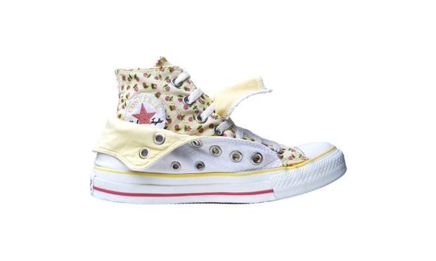 Converse Schuhe Chuck Taylor All Star Chucks 106608 Blumen Flower Print Weiß Gelb Double Upper HI - Vintage